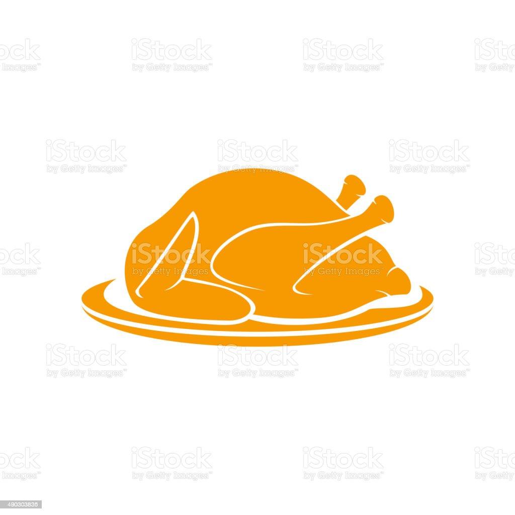 Roast turkey vector art illustration
