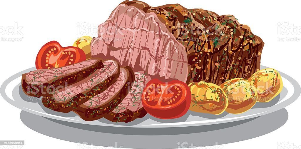 roastbeef with baked poatoes vector art illustration