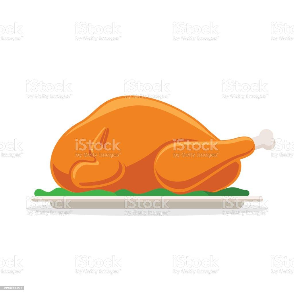 Roasted bird on a platter vector art illustration