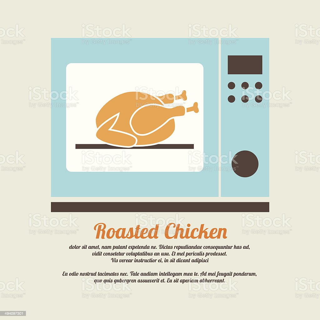 Roasted Chicken In Oven royalty-free stock vector art