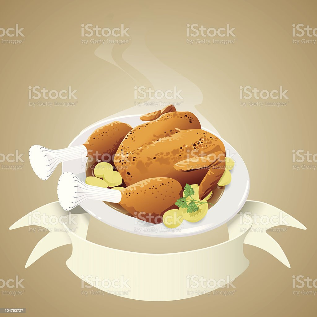 roasted chicken with banner vector art illustration