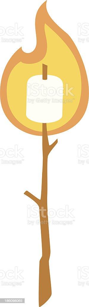 roasted marshmallow vector art illustration