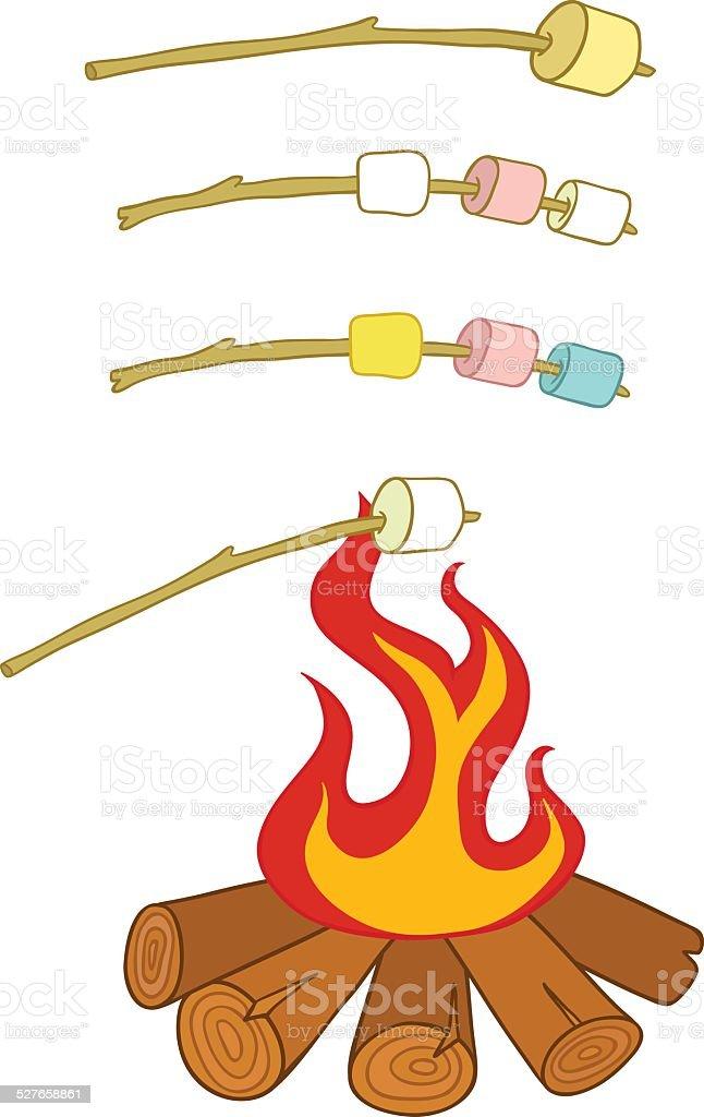 roasted marshmallows vector art illustration