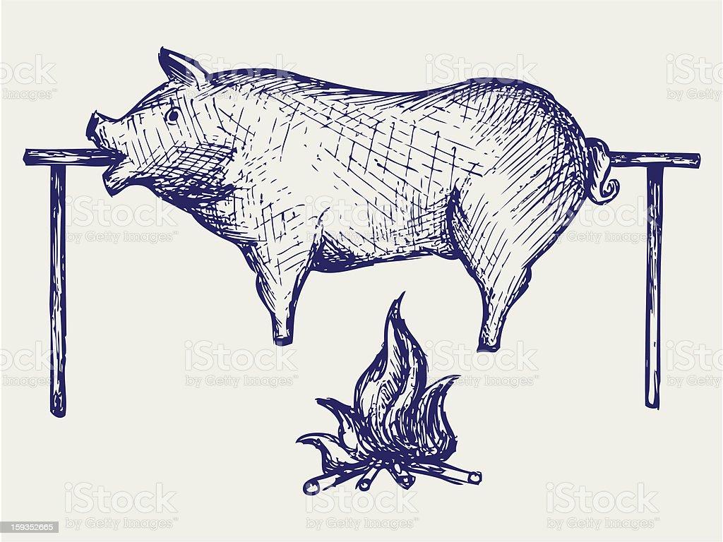 Roasted pig vector art illustration
