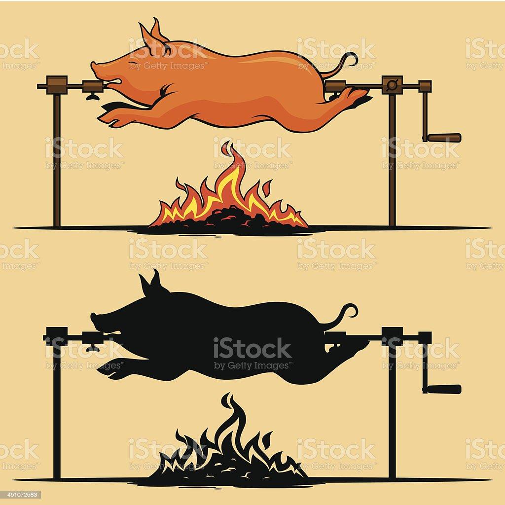 BBQ roasted pig vector art illustration