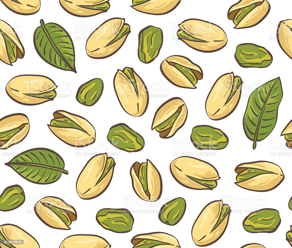 Roasted pistachio seed with shell. Seamless pattern. vector art illustration