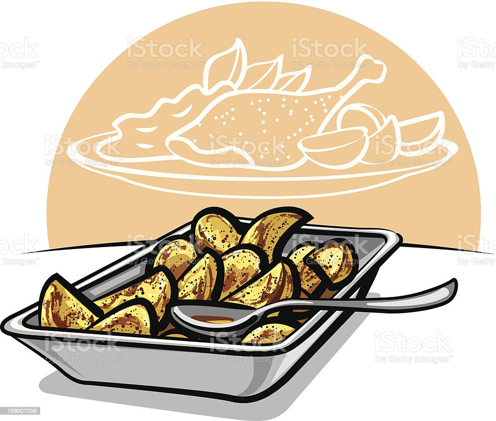 roasted potatoes vector art illustration