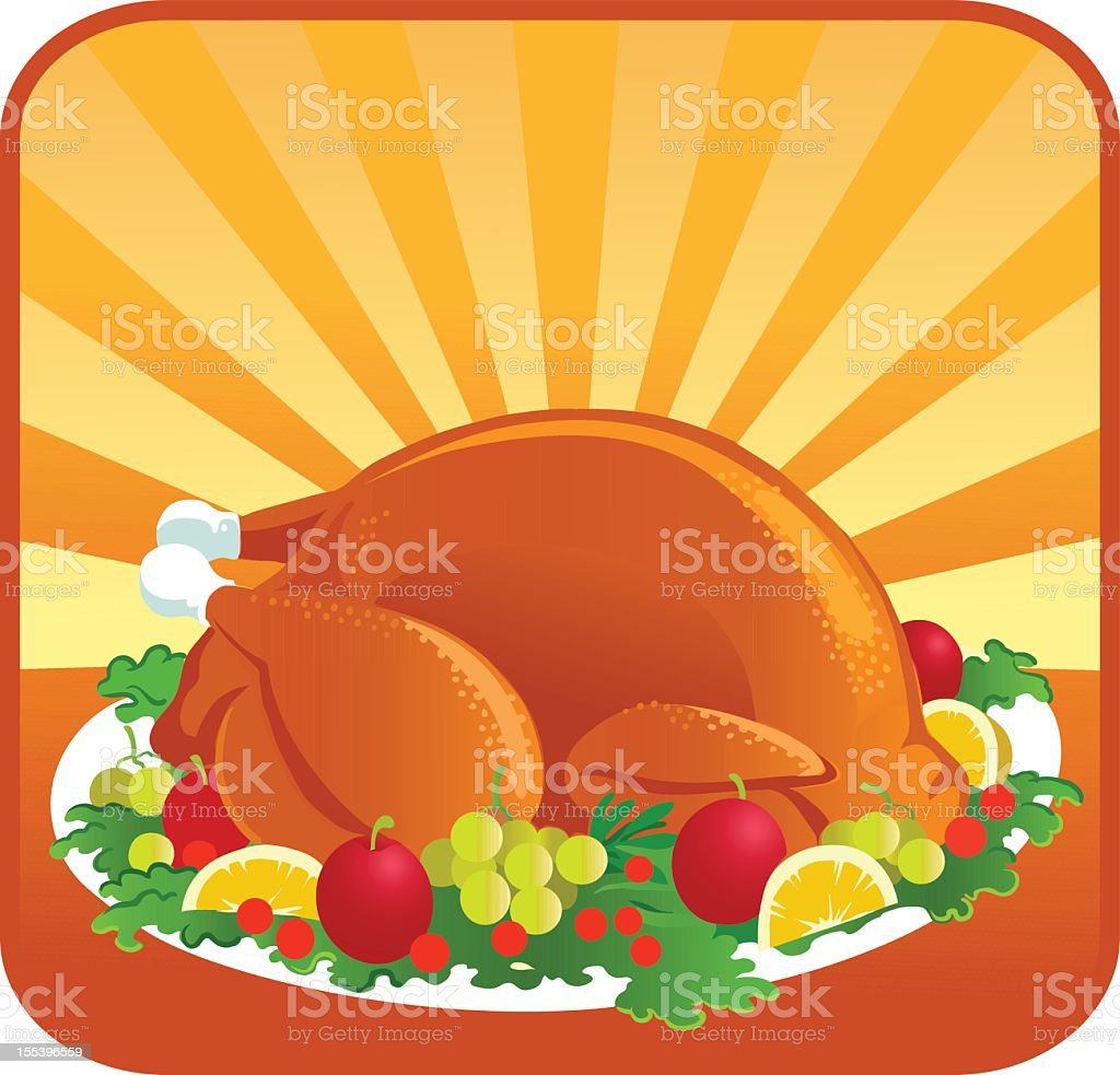 Roasted Thanksgiving Turkey with Garnish vector art illustration