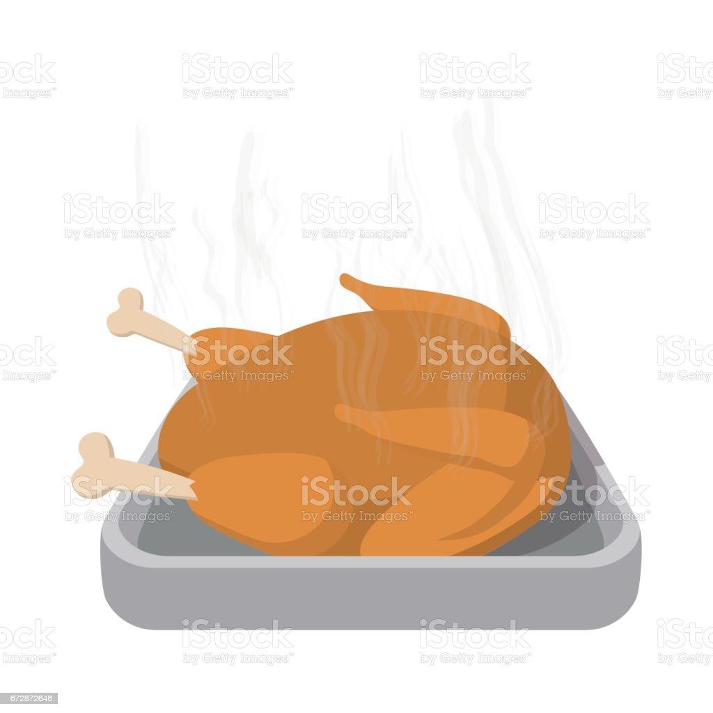 Roasted turkey cartoon icon vector art illustration