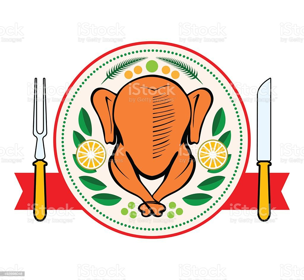 Roasted turkey symbol isolated vector illustration vector art illustration