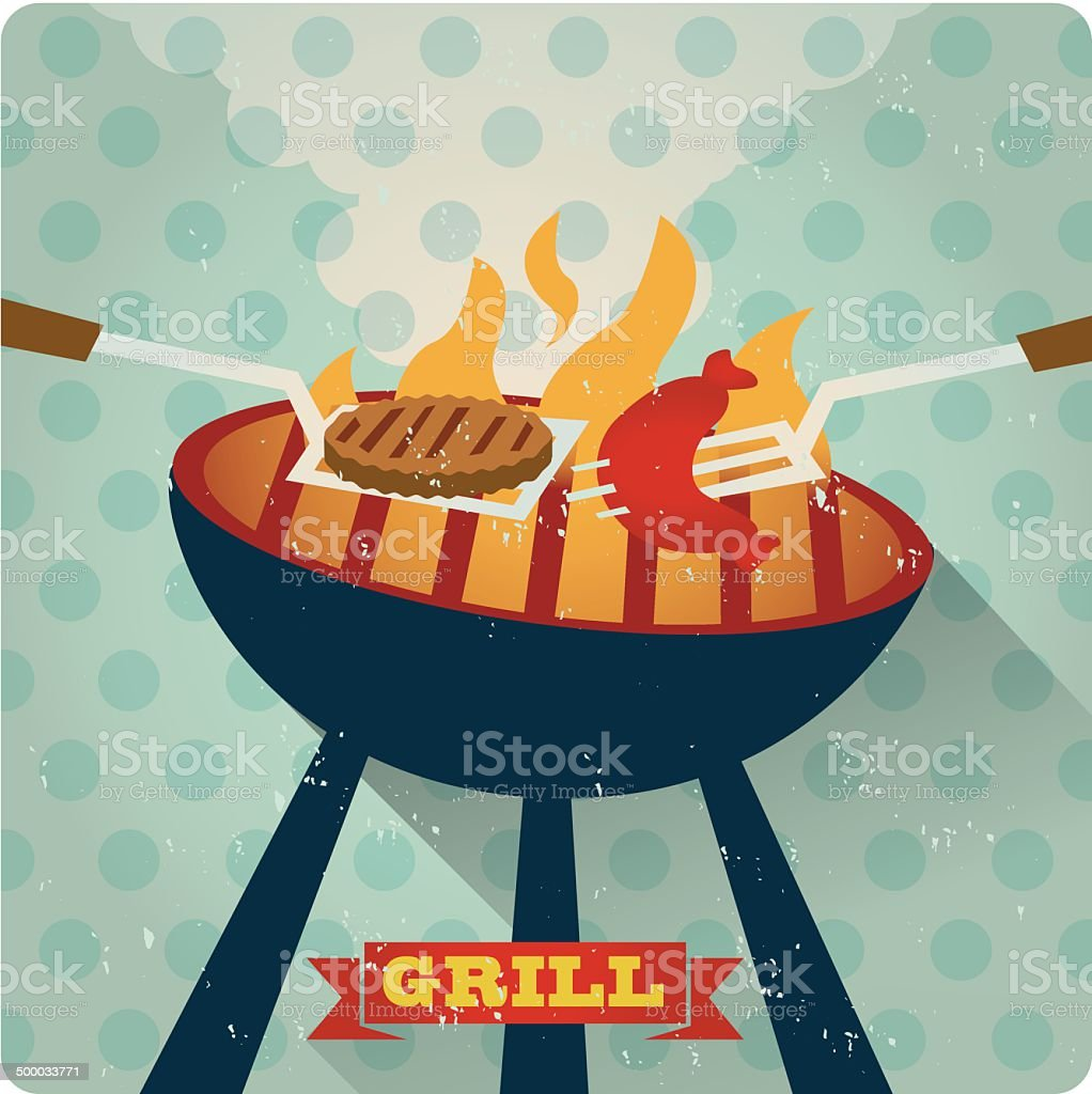 Roaster Grill Retro vector art illustration