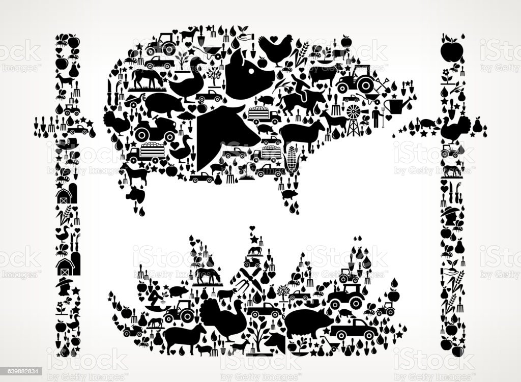 Roasting Pig Farming and Agriculture Black Icon Pattern vector art illustration