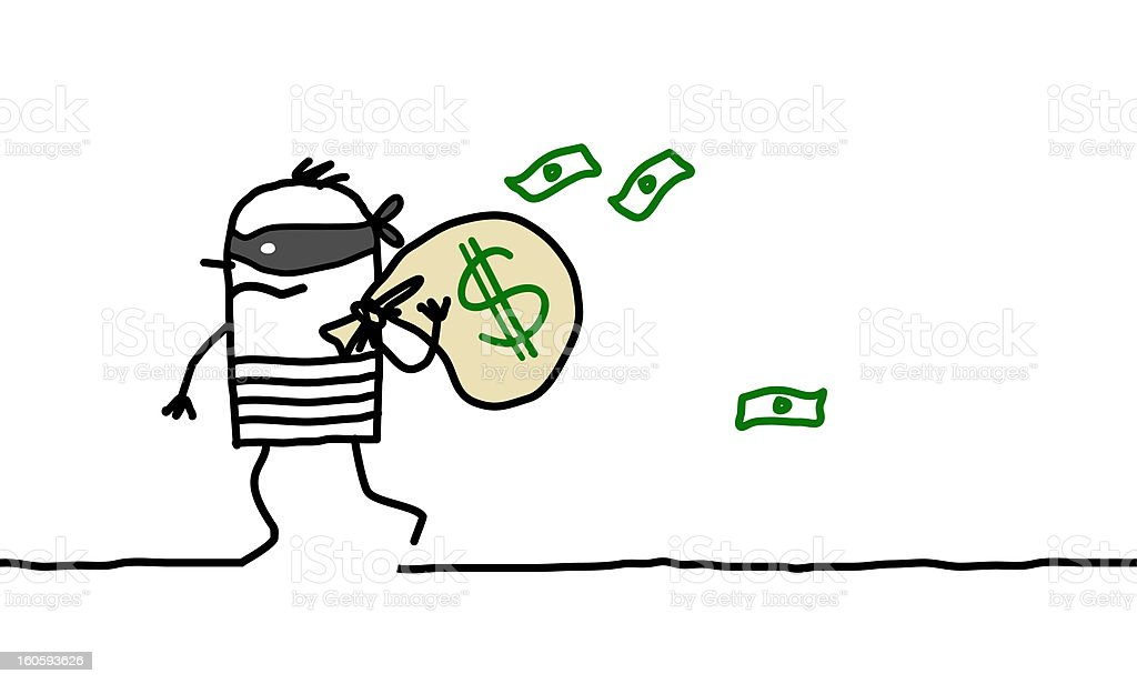 robber carrying a bag of dollars stock photo