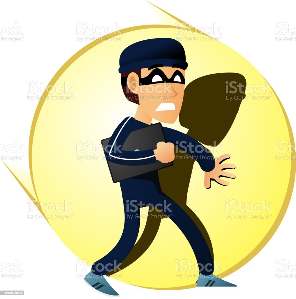 Robber getting caught vector art illustration