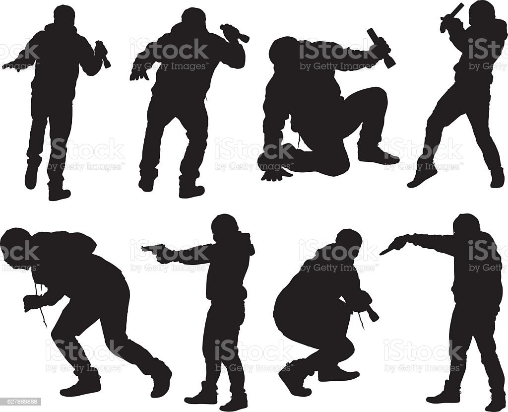 Robber in action with gun and flash light vector art illustration