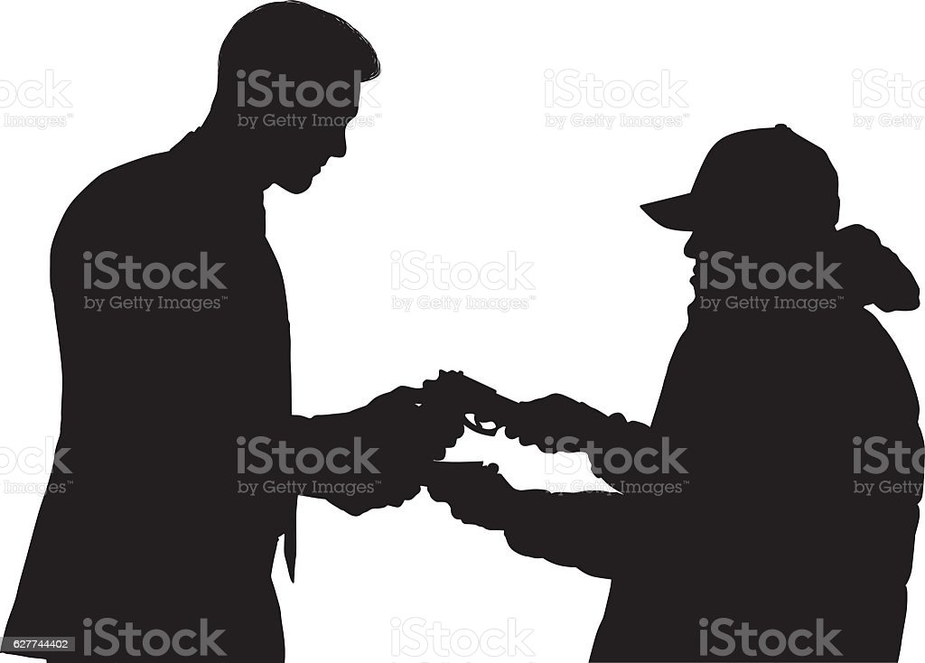 Robber robbing from businessman vector art illustration