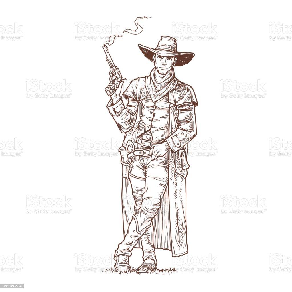 Robber with a smoking gun vector art illustration