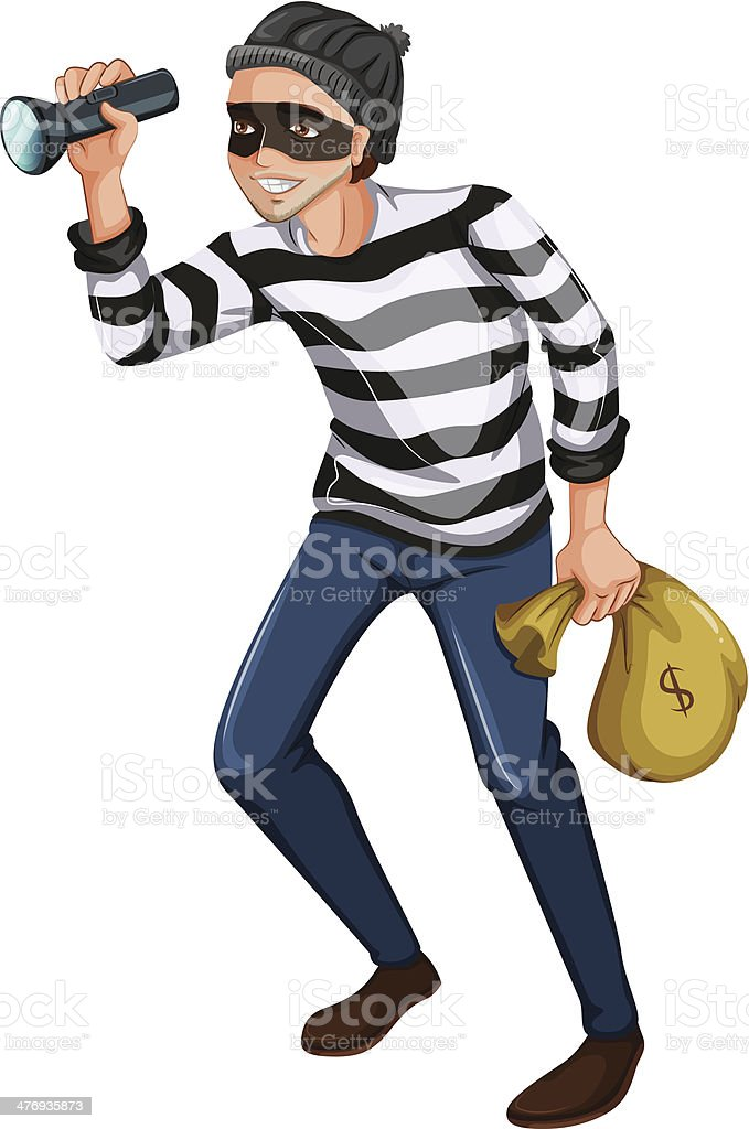 robber with flashlight and a bag vector art illustration