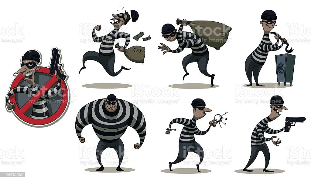 Robbers in masks colored set vector art illustration