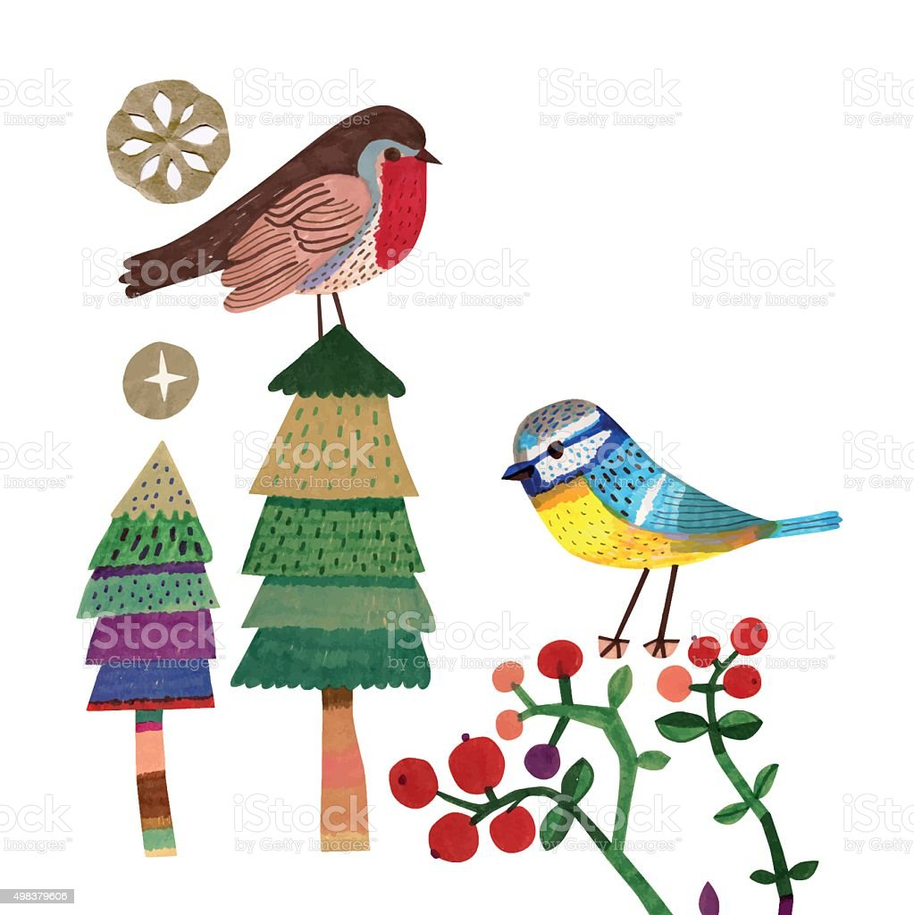 Robin and Bluetit on Christmas trees and Cranberry plants vector art illustration