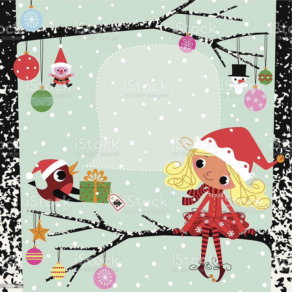 Robin, Chistmas Elf and Gift. royalty-free stock vector art