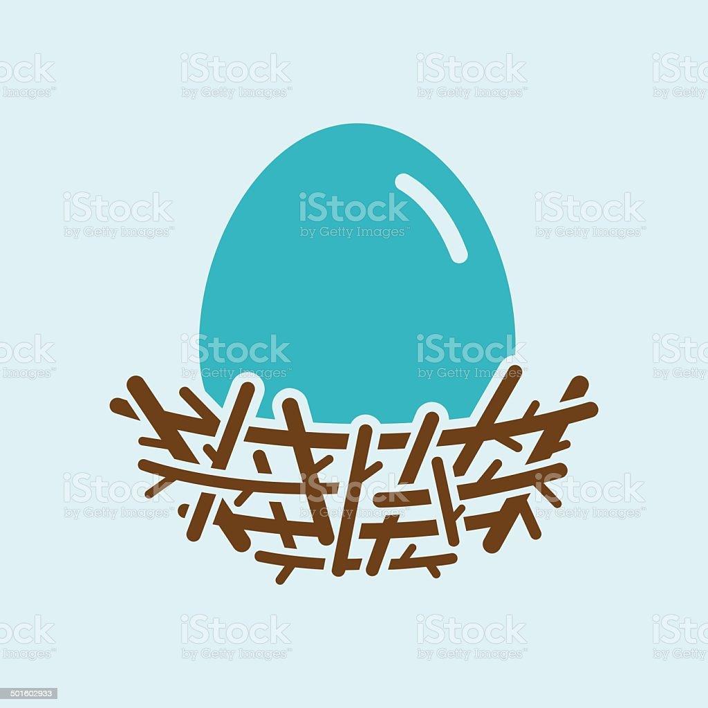 Robin Egg In Nest vector art illustration