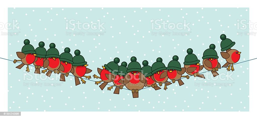 Robins wearing Green Woolly Bobble Hats on Telephone Wire vector art illustration