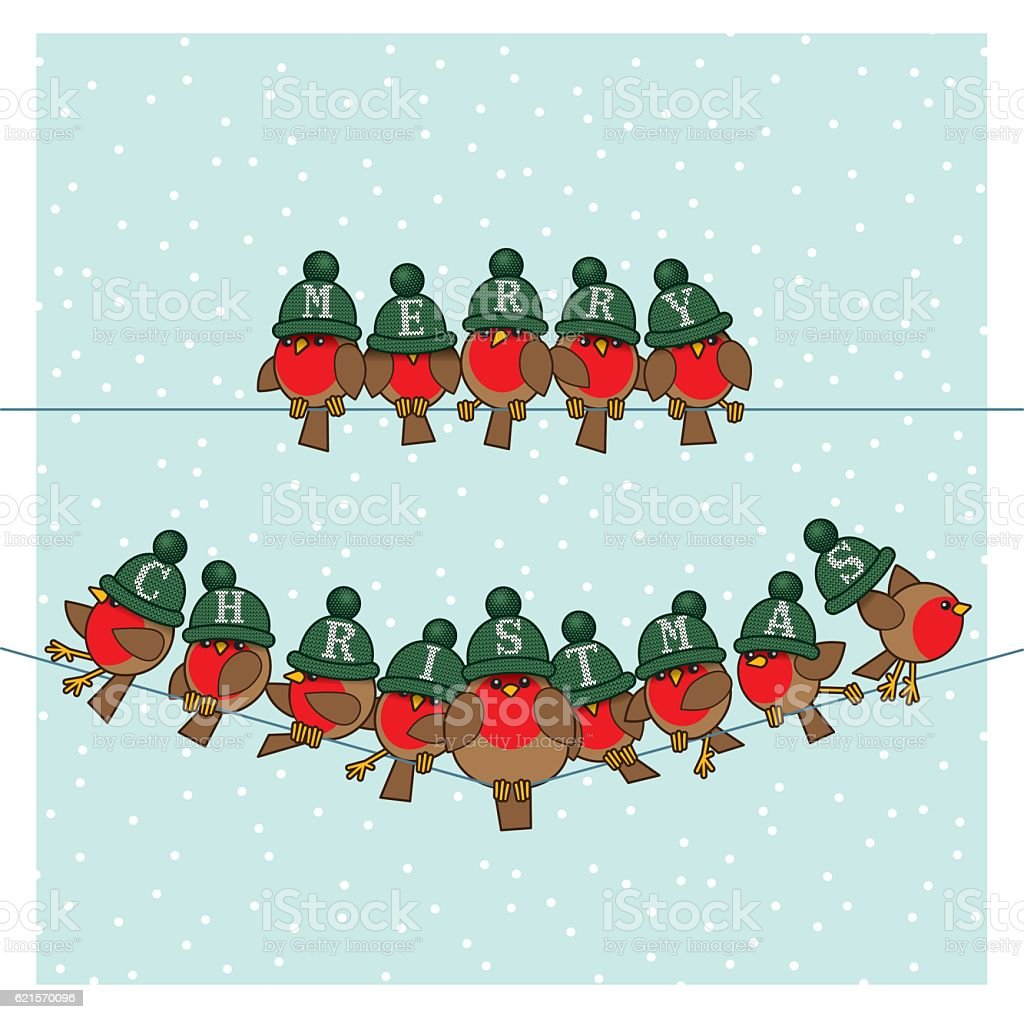Robins wearing Green Woolly Bobble Hats on two Telephone Wires vector art illustration