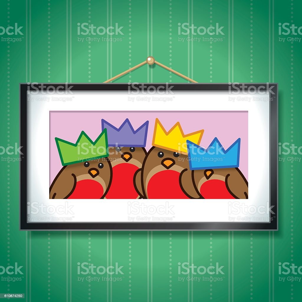 Robins Wearing Party Hats in Picture Frame vector art illustration