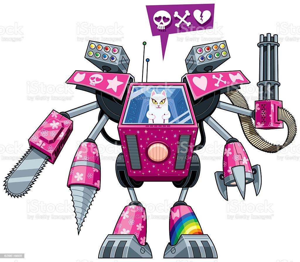 Robo-pussycat vector art illustration