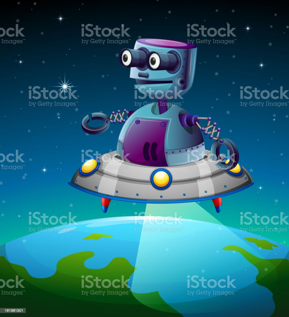 robot above the earth royalty-free stock vector art
