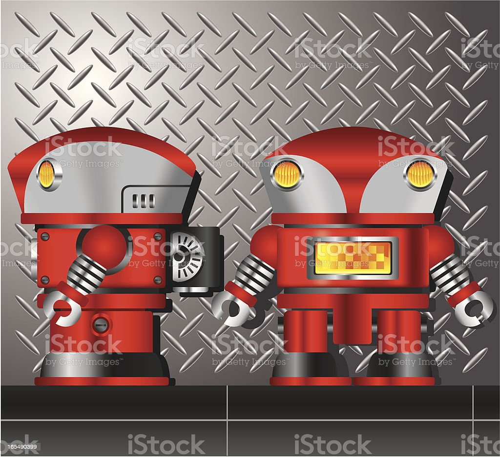 Robot againest metallic background royalty-free stock vector art