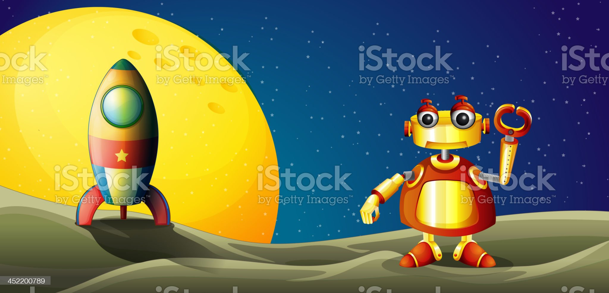 Robot and a spaceship in the outer space royalty-free stock vector art
