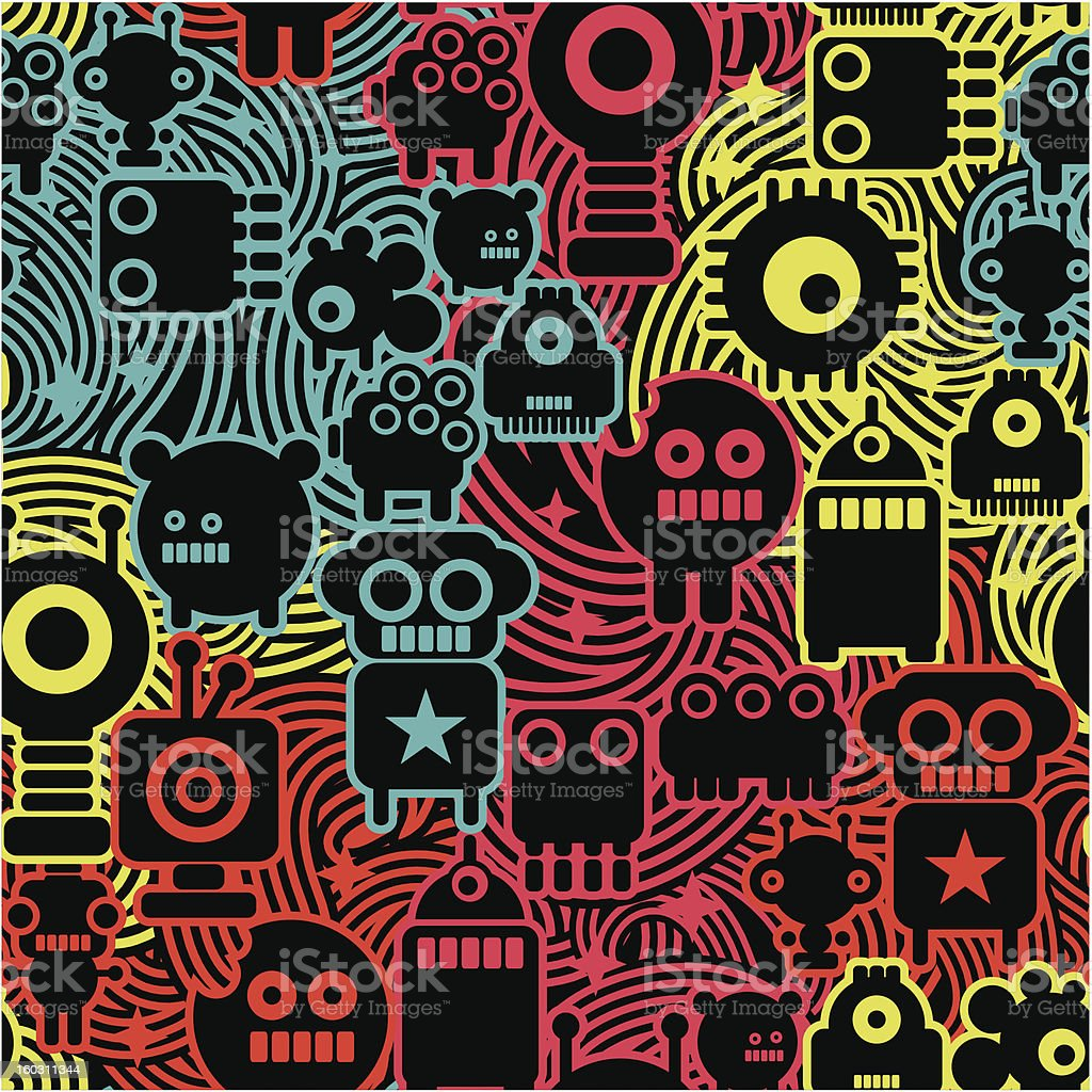 Robot and monsters cool pattern. royalty-free stock vector art