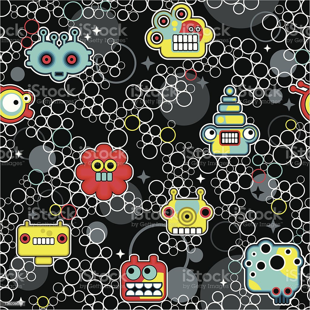 Robot and monsters with bubbles seamless pattern. royalty-free stock vector art