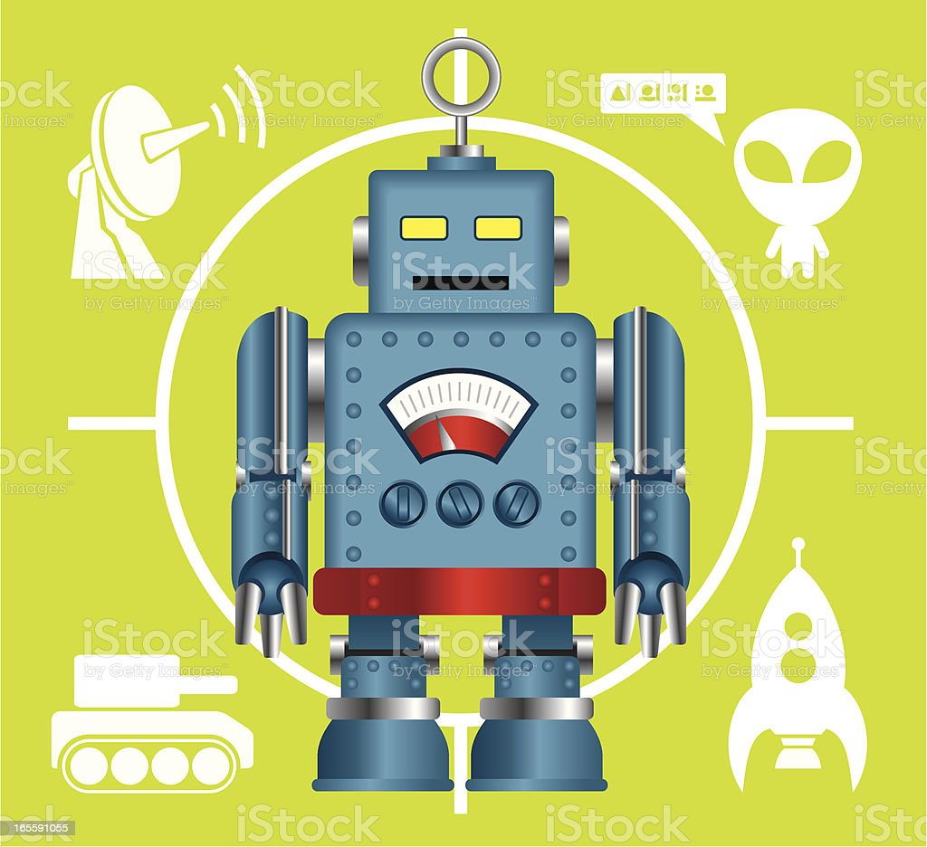 Robot and related icon set vector art illustration