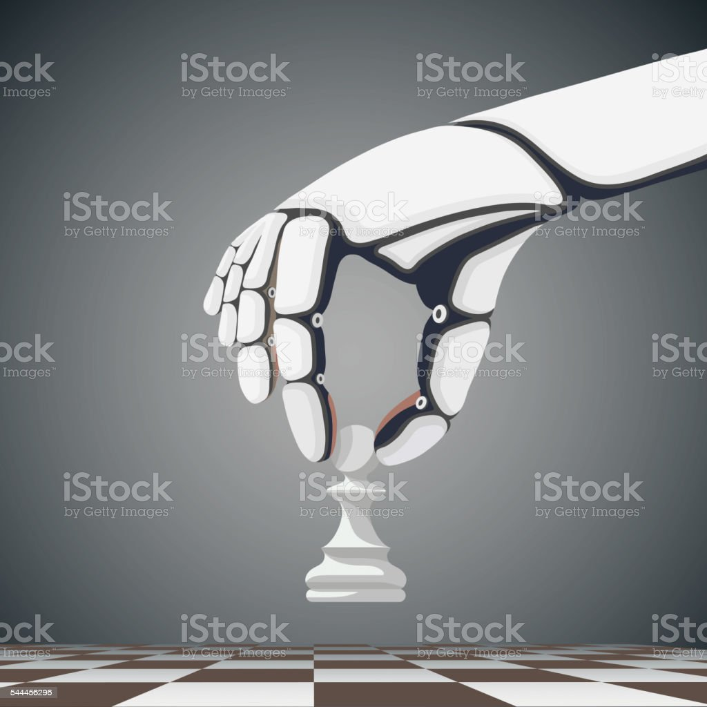 Robot arm holding a chess pawn. Artificial Intelligence. vector art illustration
