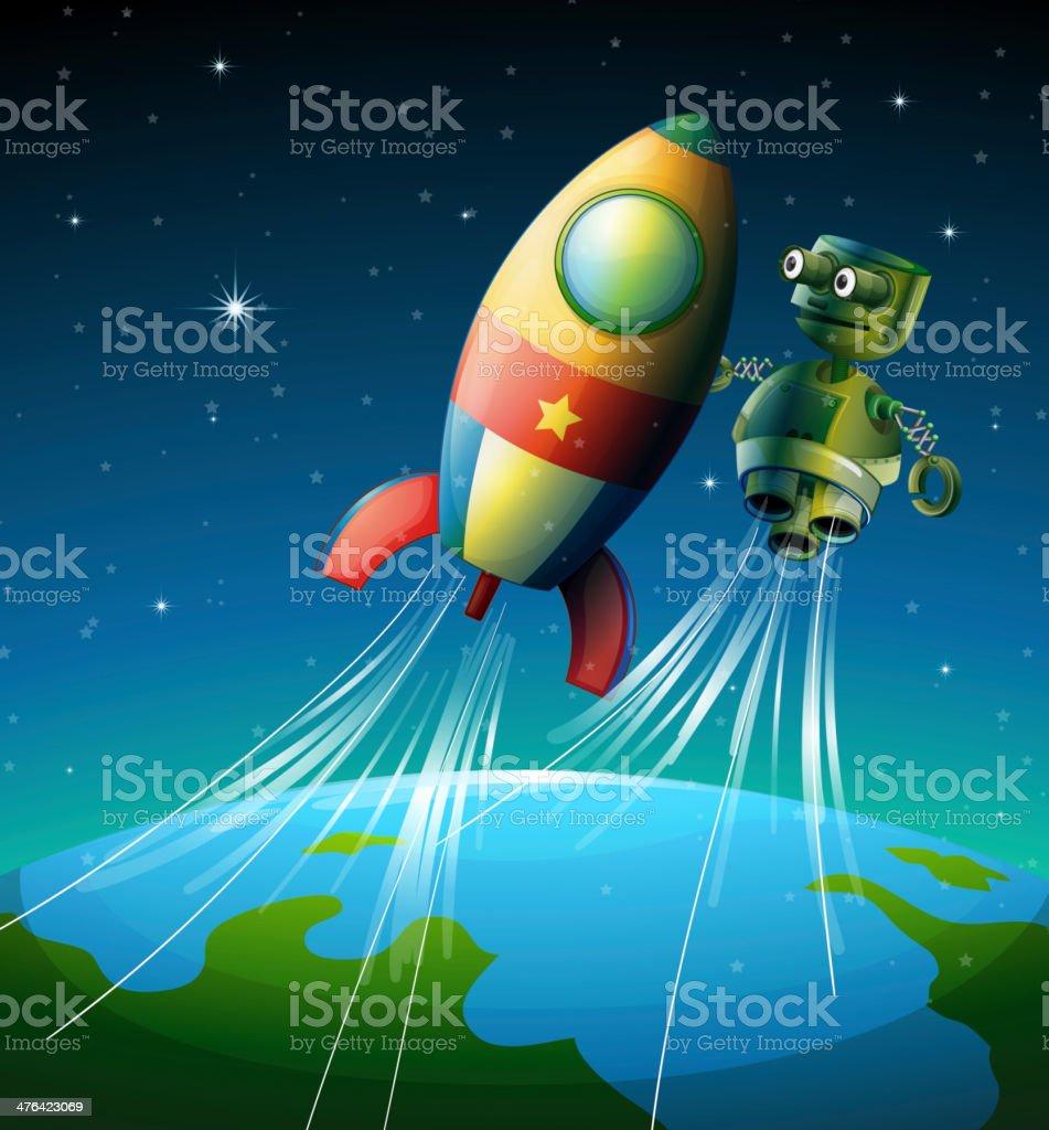 Robot beside a spaceship royalty-free stock vector art