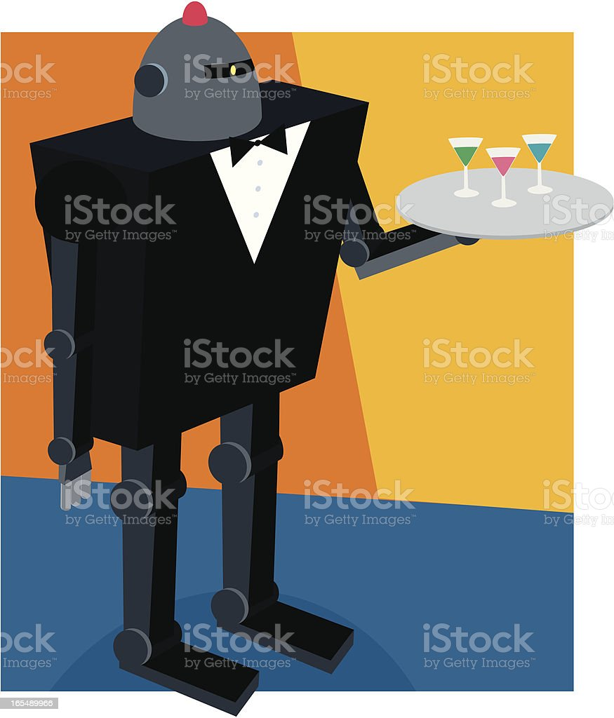 Robot Butler vector art illustration