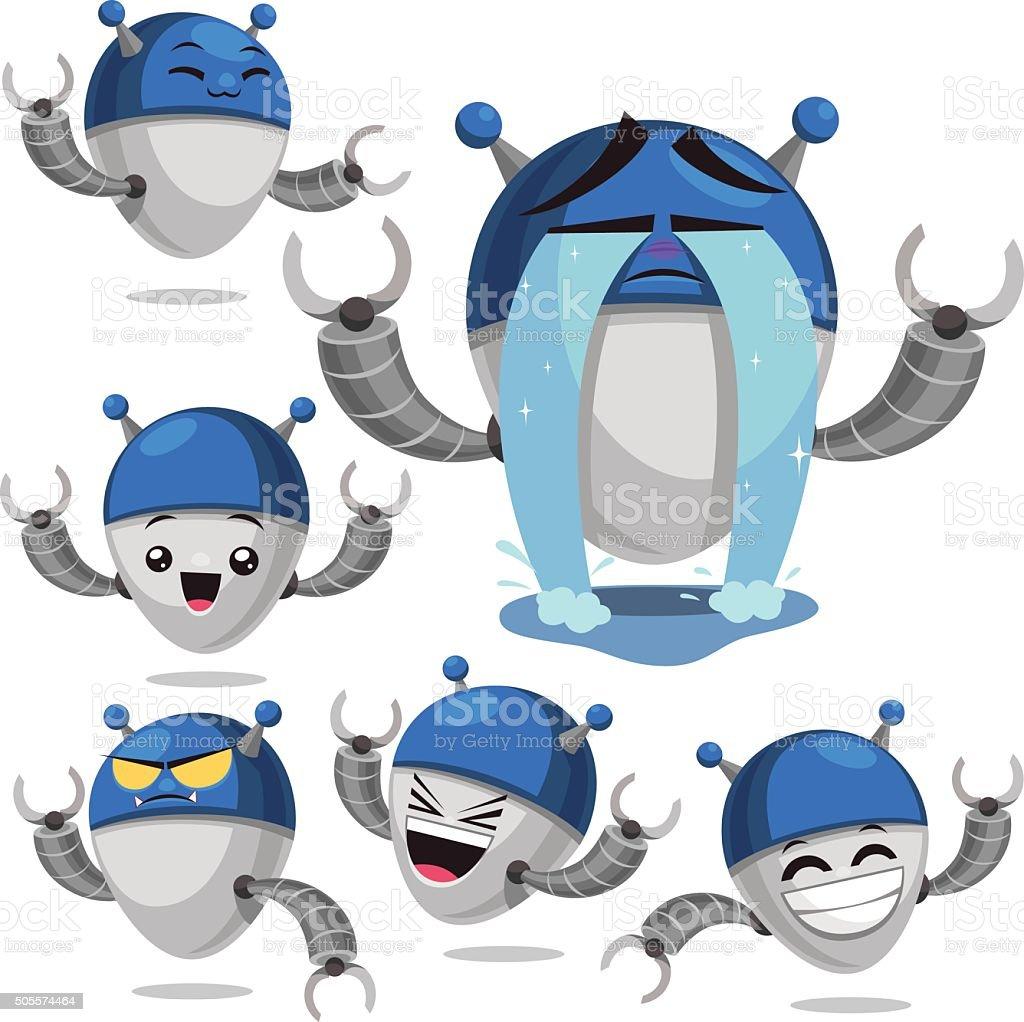 Robot Cartoon Set B vector art illustration
