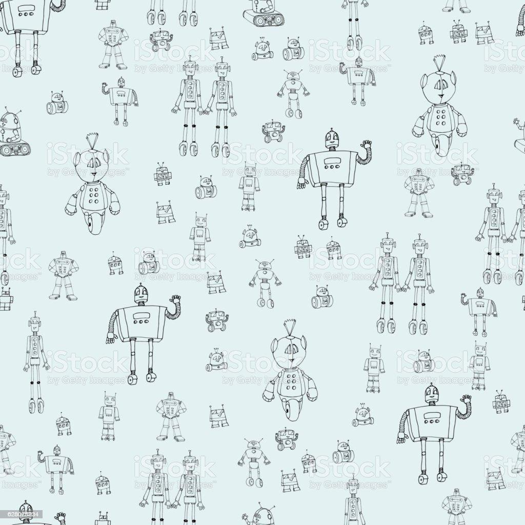 Robot doodles pattern. vector art illustration