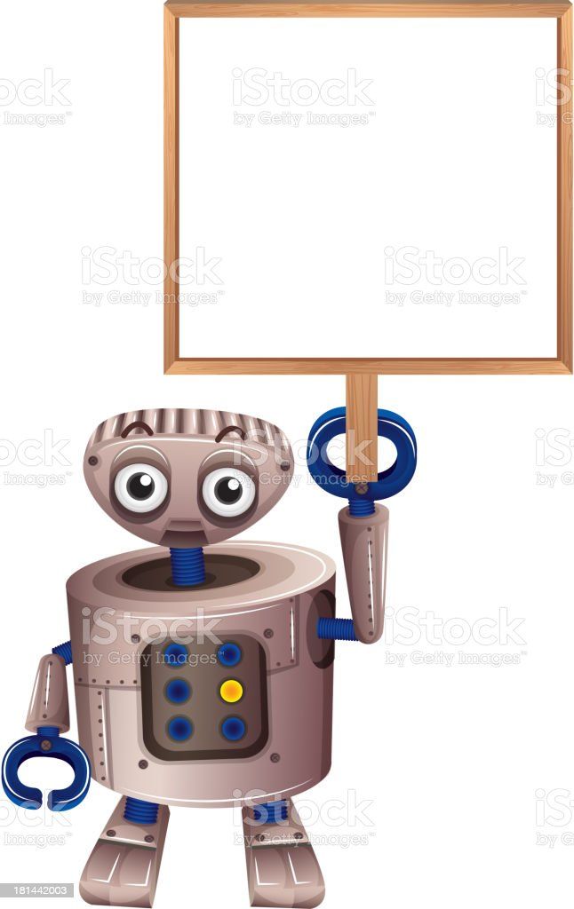 robot holding an empty board royalty-free stock vector art