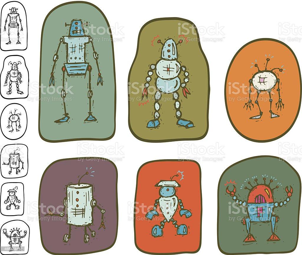 Robot Icon Set vector art illustration