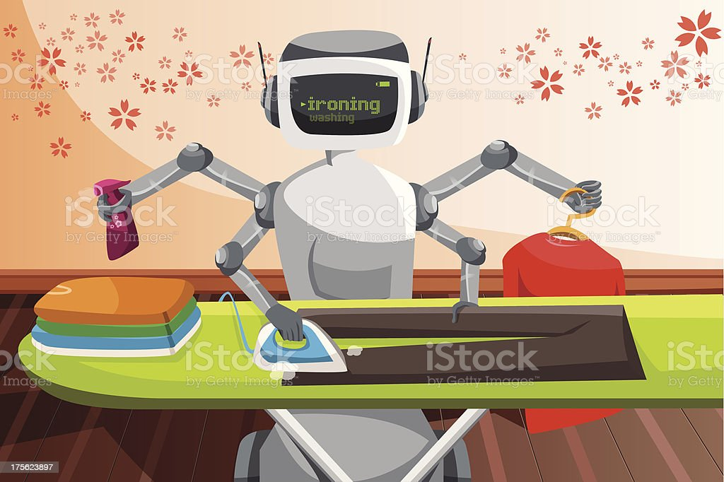 Robot ironing clothes royalty-free stock vector art