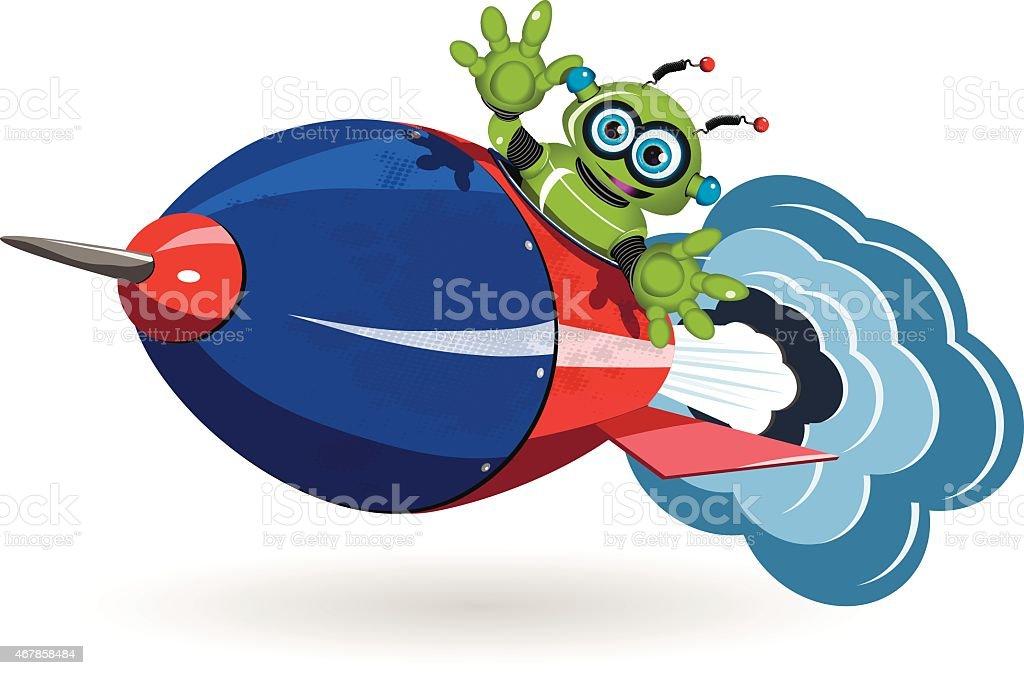 Robot on a Rocket vector art illustration