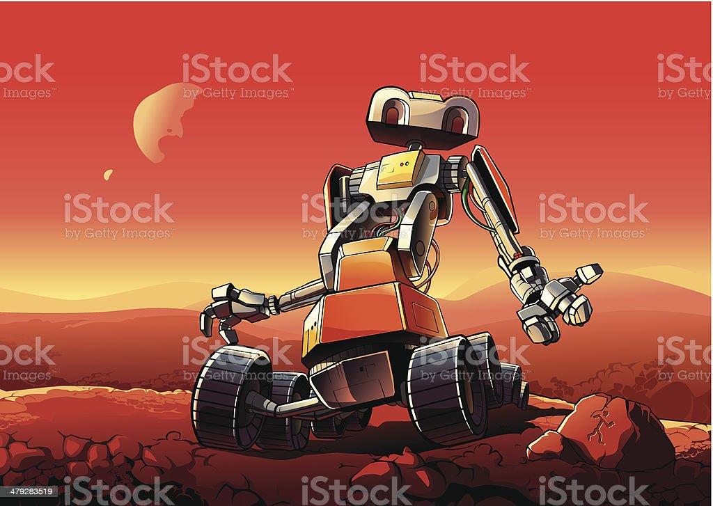 Robot on Mars: New martian Mission royalty-free stock vector art