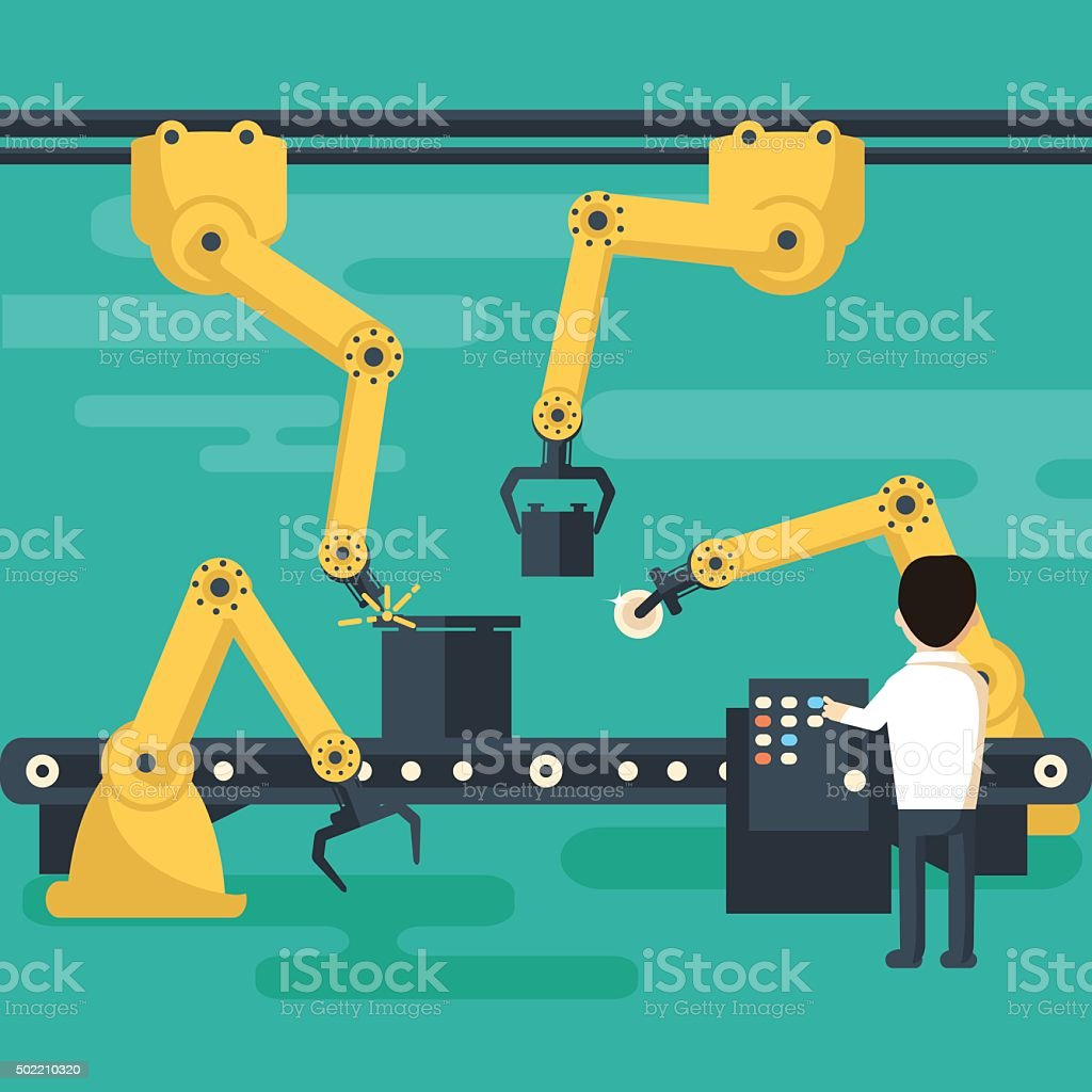 Robot operation of the conveyor vector art illustration