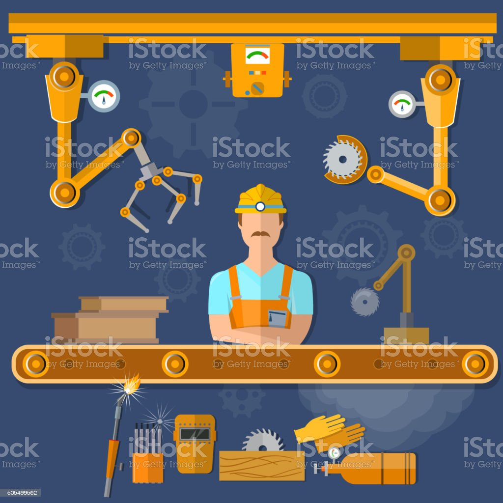 Robot operation of the conveyor with conveyor belt vector art illustration