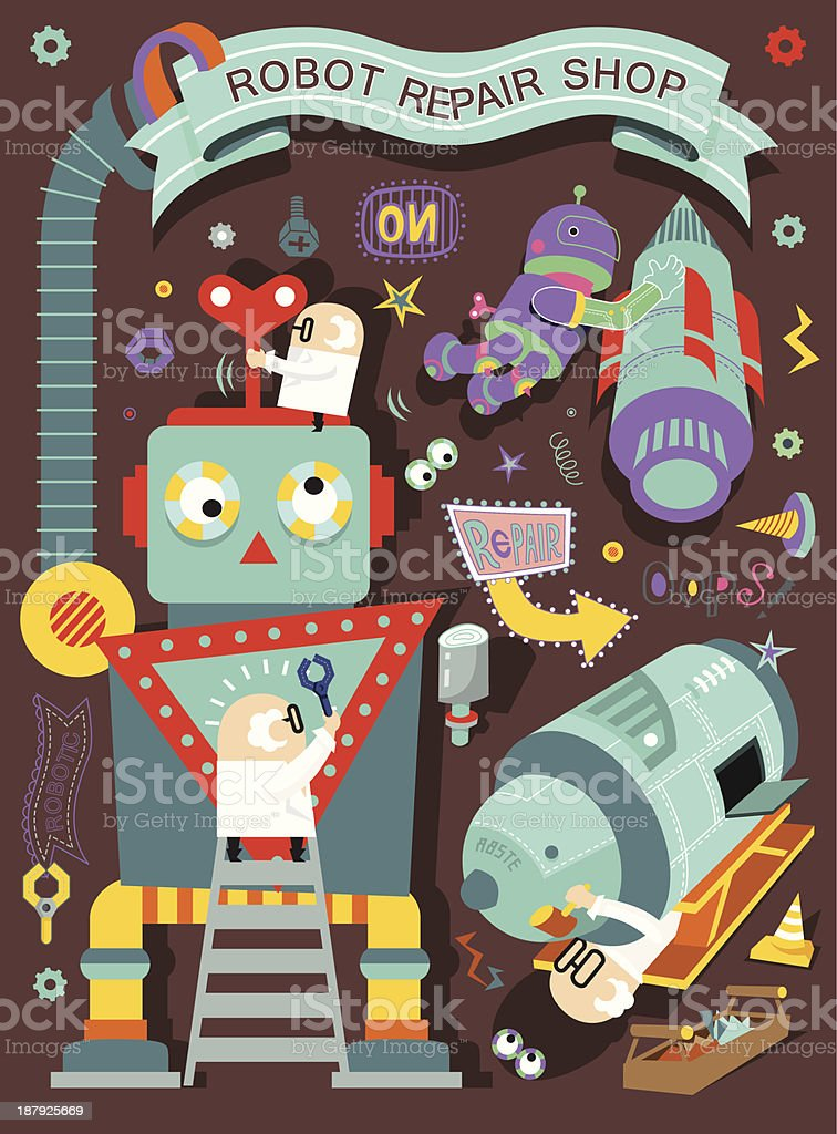 Robot repair shop royalty-free stock vector art