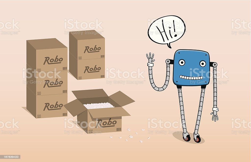 Robot saying 'Hi' for a first time royalty-free stock vector art